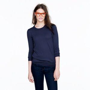 J crew navy blue 3/4 sleeve linen sweater S